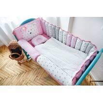 Комплект постільної білизни для новонароджених Ведмедик 9-03 Для дівчаток Рожевий