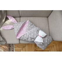 Конверт-одеяло для малыша Dobryi Son Капюшон с ушками Зайки 100х80 см Серо-розовый