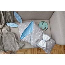 Конверт-одеяло для малыша Dobryi Son Капюшон с ушками Зайки 100х80 см Серо-голубой