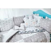 Захист зі знімними наволочками в ліжечко Dobryi son Bravo 12 шт 3-03-1 Сіро-біла зірка