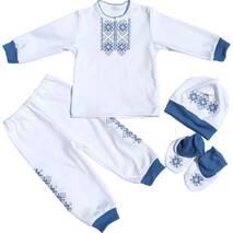 Нарядний костюмчик для хлопчика Візерунок білий з синім