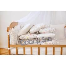 Бортики-защита в кроватку из сатина Верона - 2 Зверята + сердечки Dobryi son