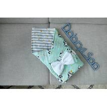 Конверт-плед для новорожденных бязь-бязь 80 6-01 Dobryi Son Мятный с пандами