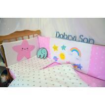Комплект постельного белья для новорожденных с защитой-бортиками Леко Розово-белый