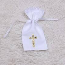 Мешочек для волос Крестик золотой белый