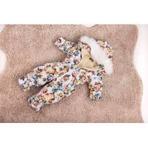 Комбінезон дитячий зимовий на овчині Natalie Look Flowers 86-92 см бежевий з кольорами