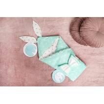 Конверт-одеяло для малыша Dobryi Son Капюшон с ушками Зайки 100х80 см Бело-мятный