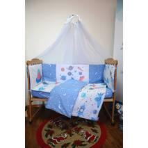 Комплект постельного белья для новорожденных с защитой-бортиками Леко Синий