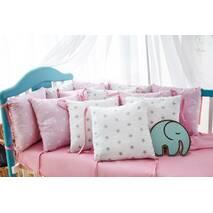 Захист зі знімними наволочками в ліжечко Dobryi son Bravo 12 шт 3-03-1 Рожево-білий