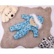 Комбінезон дитячий зимовий на овчині Natalie Look Мопс 122-128 см бірюза