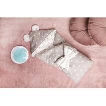 Конверт-одеяло для малыша Dobryi Son Капюшон с ушками Мишки 100х80 см Серо-белый