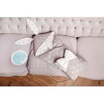 Конверт-одеяло для малыша Dobryi Son Капюшон с ушками Зайки 100х80 см Серо-белый