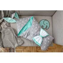 Конверт-одеяло для малыша Dobryi Son Капюшон с ушками Зайки 100х80 см Серо-мятный
