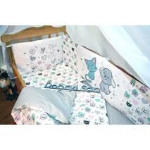 Комплект постільної білизни для новонароджених із защитой-бортиками Леко Котики