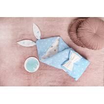 Конверт-одеяло для малыша Dobryi Son Капюшон с ушками Зайки 100х80 см Бело-голубой