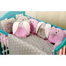 Комплект постельного белья для новорождённых Лесные зверята 09-02 розовый