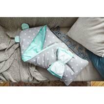 Конверт-одеяло для малыша Dobryi Son Капюшон с ушками Мишки 100х80 см мятно-серый