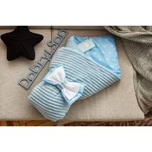 Конверт-одеяло для новорожденного плюш Stripse+бязь Осень Dobryi Son 100х80 см 7-06 Голубой