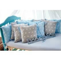 Захист зі знімними наволочками в ліжечко Dobryi son Bravo 12 шт 3-03-1 Сіро-блакитна зірка