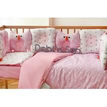 Комплект постельного белья для новорождённых Совушки 9-01 Для девочек бело-розовый