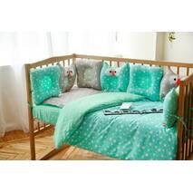 Комплект постельного белья для новорождённых Совушки 9-01 Унисекс 60х120 см серо-мятный