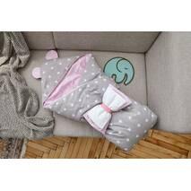 Конверт-одеяло для малыша Dobryi Son Капюшон с ушками Мишки 100х80 см розово-серый