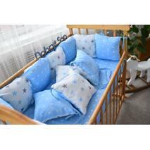 Захист зі знімними наволочками в ліжечко Dobryi son Bravo 12 шт 3-03-1 Біло-блакитної великі зірки