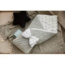 Конверт-одеяло для новорожденного плюш Stripse+бязь Осень Dobryi Son 100х80 см 7-06 Серо-белый