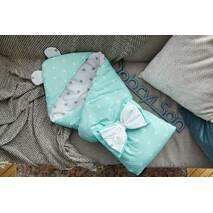 Конверт-одеяло для малыша Dobryi Son Капюшон с ушками Мишки 100х80 см Бело-мятный