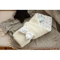 Конверт-одеяло для новорожденного плюш Stripse+бязь Осень Dobryi Son 100х80 см 7-06 Молочно-белый