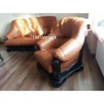 Кожаный комплект мебели на дубе BOSS II 3+1+1