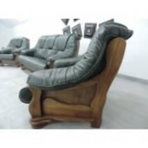 Кожаный комплект мебели на дубе ALFA II 3+1+1