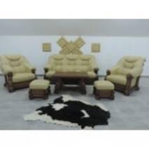 Кожаный комплект мебели на дубе BOGDAN I 3+1+1