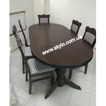 Раскладной стол Ст-9 со стульями из массив бука орех