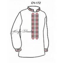 Сорочка мужская  ''Сяйво .Красный орнамент.''(белое домотк.полотно)