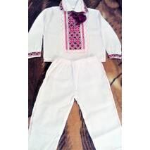 Костюм  для крещения (вышиванка и штаны) цвет красный