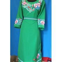 """Платье """"Цвет шиповника"""" цвет зеленый р.50,52"""