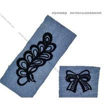Аппликация для термопереноса флок   цветок   3,5* 2см серебро