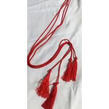 Пояс-шнурок шелковый, красный