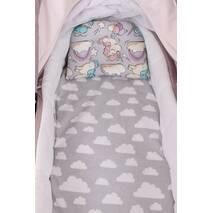 """Комплект в коляску для новорожденного """"Серые единорожки"""""""