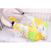 """Комплект в коляску для новорожденного """"Желто-серый"""""""