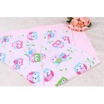 Детское теплое одеяло совушки на розовом