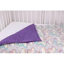 Детское теплое одеяло единороги с фиолетовым плюшем