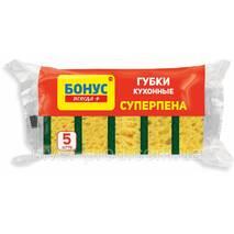 """Губка кухонная крупнопористого Суперпина 5шт """"Бонус"""" (1/40)"""