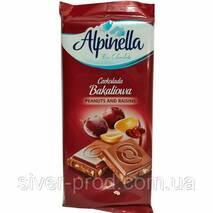 Шоколад Alpinella молочный с арахисом и изюмом 90г (1/25)
