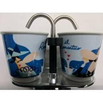 Подарунковий набір Bialetti Set Romantico : гейзерна кавоварка Mini Express (2 cup) 2 кавових скляночки