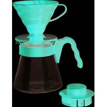 Подарунковий набір для кави: пуровер Hario V60 02 пластик Red   Сервіровка заварник із скла