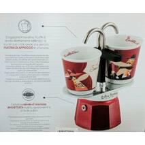 Подарунковий набір Bialetti Set : гейзерна кавоварка Mini Express (2 cup)    2 кавових скляночки Red