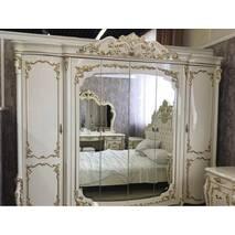 Класична спальня Афіна біла з золотом. Підсилений каркас ліжка в подарунок