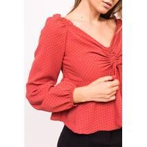 LUREX Блузка с открытими плечиками - красный цвет, S